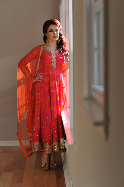 Orange Anarkali Dress