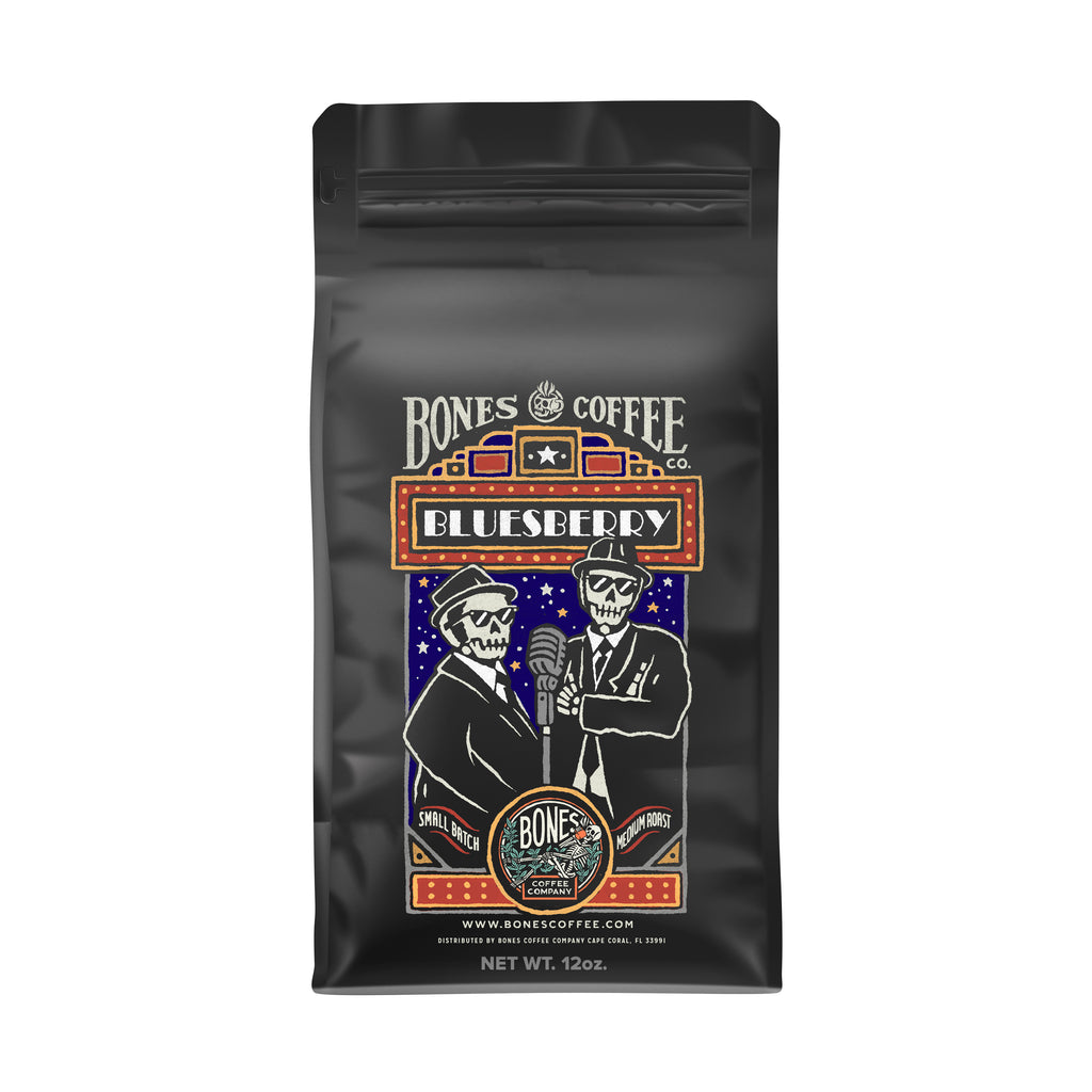 Bluesberry - Blueberry Flavored Coffee by Bones Coffee Company | 12oz