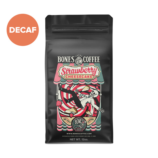 Decaf Strawberry Cheesecake Gourmet Coffee by Bones Coffee Company | 12oz