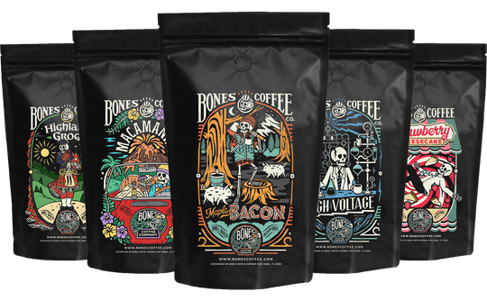 Five bags of coffee with artistic labels, from Bones Coffee