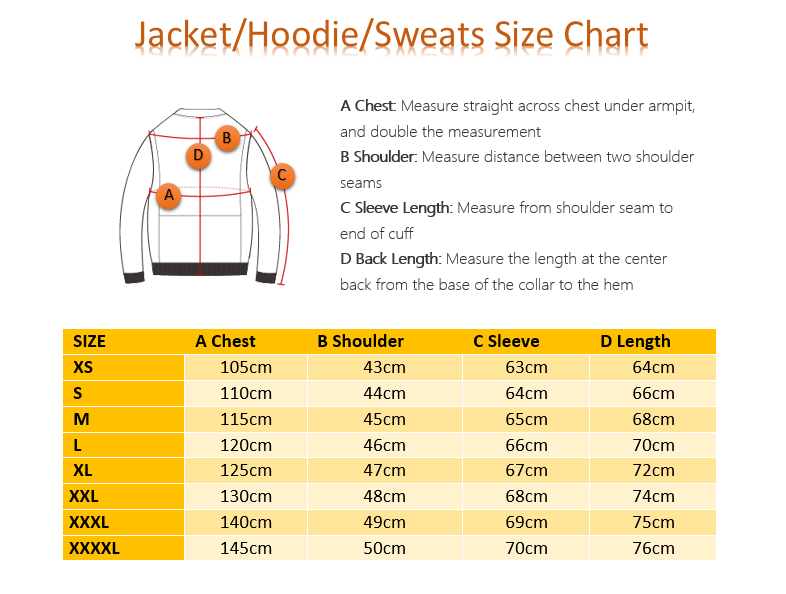 Size Chart dapper wear hoodie bomber jacket sweat shirt