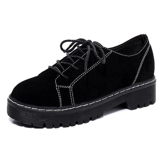 f888645ec6e9 ... HEE GRAND Brogue Shoes Lace-Up Platform Oxfords Shoes Woman Casual Faux  Suede Creepers Spring ...