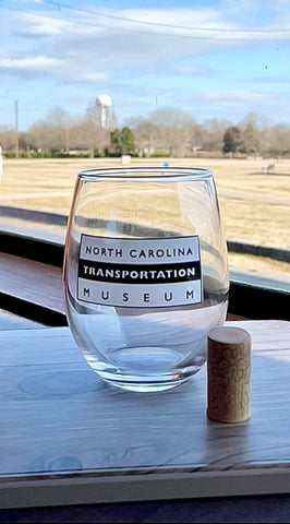 North Carolina Transportation Museum Stemless Wine Glass