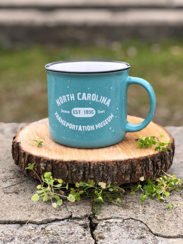 North Carolina Transportation Museum Stone Speckled Camping Mug