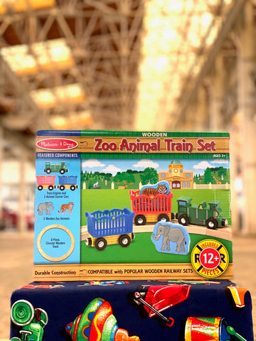 Zoo animal wooden train set