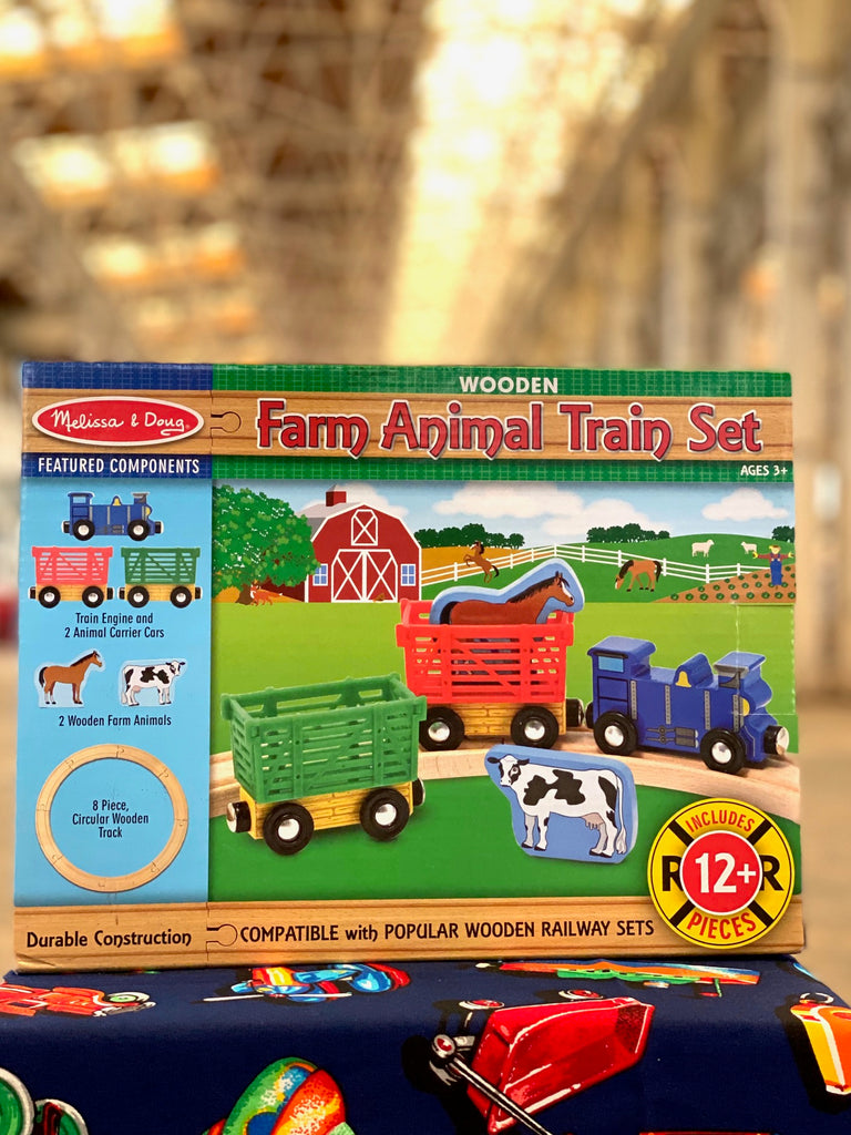 Farm animal wooden train set