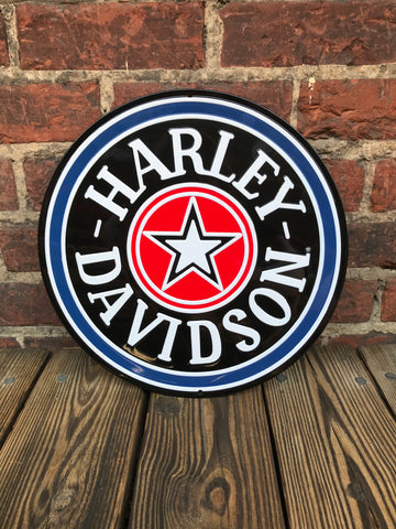 Harley Davidson Round Tin Sign