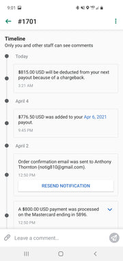 Order for anthony thornton for usa upgrade