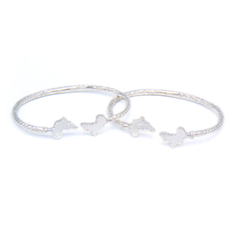 Africa Ends .925 Sterling Silver West Indian Bangles (Pair) - Betterjewelry