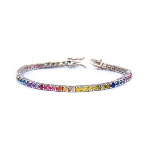 Rainbow Round Cut 4mm CZ Tennis Bracelet .925 Sterling Silver - Betterjewelry