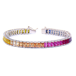 Rainbow Emerald Cut 7mm CZ Tennis Bracelet .925 Sterling Silver - Betterjewelry