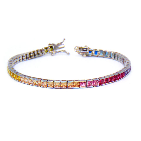 Rainbow Princess Cut 5mm CZ Tennis Bracelet .925 Sterling Silver - Betterjewelry