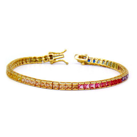 Rainbow Princess 5mm Cut CZ Gold Plated Tennis Bracelet .925 Sterling Silver