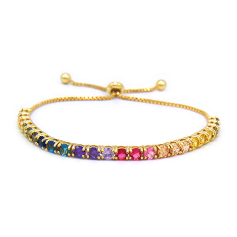 Rainbow Round Cut 5mm CZ Gold Plated Adjustable Tennis Bracelet .925 Sterling Silver