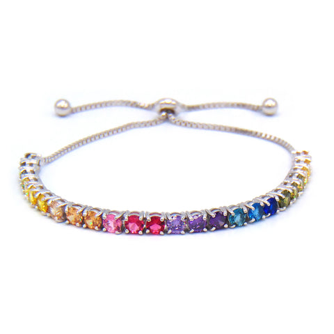 Rainbow Round Cut 5mm CZ Adjustable Tennis Bracelet .925 Sterling Silver - Betterjewelry