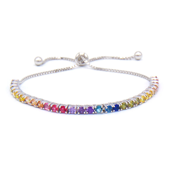 Rainbow Round Cut 4mm CZ Adjustable Tennis Bracelet .925 Sterling Silver - Betterjewelry
