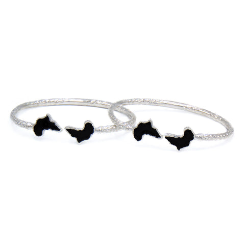 Africa Ends .925 Sterling Silver West Indian Bangles w. Black Enamel (Pair)