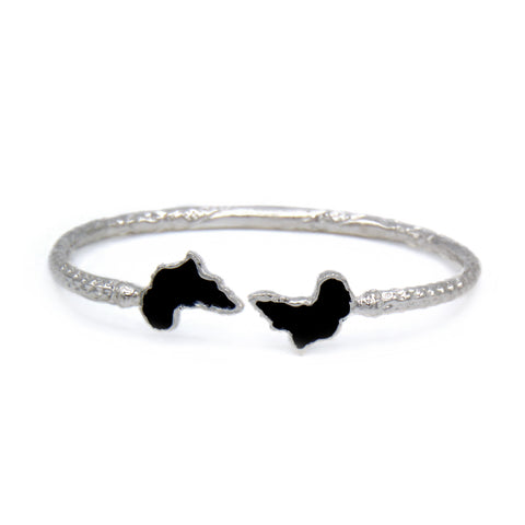 Africa Ends .925 Sterling Silver West Indian Bangle w. Black Enamel (Made in USA)