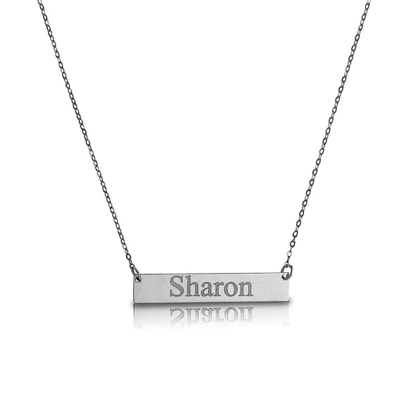 Custom .925 Sterling Silver Bar Necklace w. Engraving - Betterjewelry