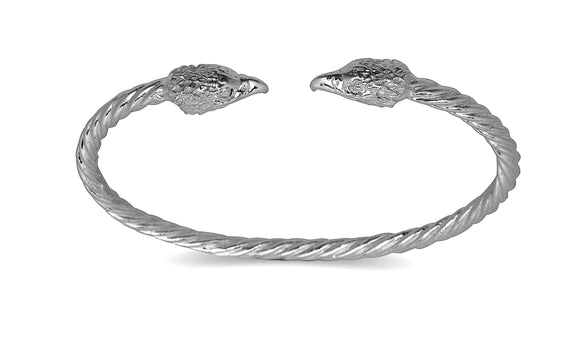 Eagle ends coiled rope West Indian bangle .925 Sterling silver (MADE IN USA) - Betterjewelry