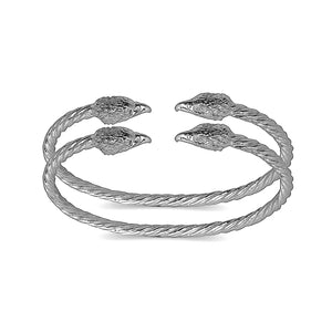 Eagle ends coiled rope West Indian bangles .925 Sterling silver (MADE IN USA) (pair) - Betterjewelry