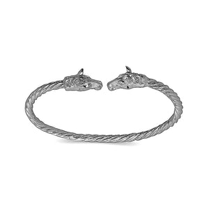 Horse ends coiled rope West Indian bangle 925 Sterling silver (MADE IN USA) - Betterjewelry