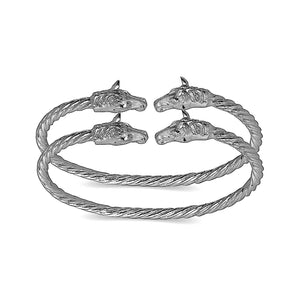 Horse ends coiled rope West Indian bangles .925 Sterling silver (MADE IN USA)  (pair) - Betterjewelry