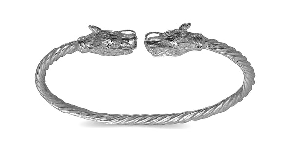 Dragon ends coiled rope West Indian bangle .925 Sterling silver (MADE IN USA) - Betterjewelry