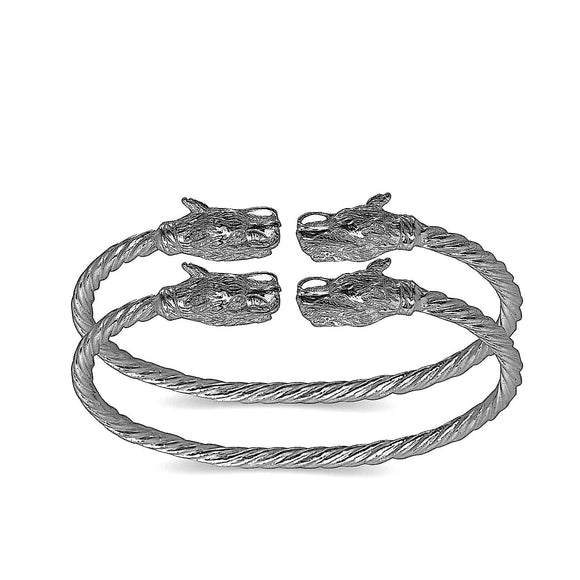 Dragon ends coiled rope West Indian bangles .925 Sterling silver (MADE IN USA) - Betterjewelry