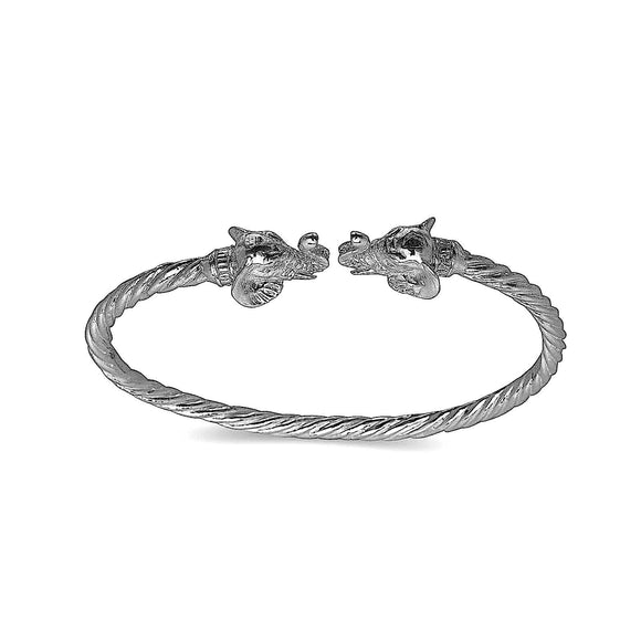 Elephant ends coiled rope West Indian bangle .925 Sterling silver (MADE IN USA) - Betterjewelry