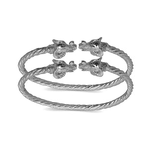 Elephant ends coiled rope West Indian bangles .925 Sterling silver (MADE IN USA) (pair) - Betterjewelry