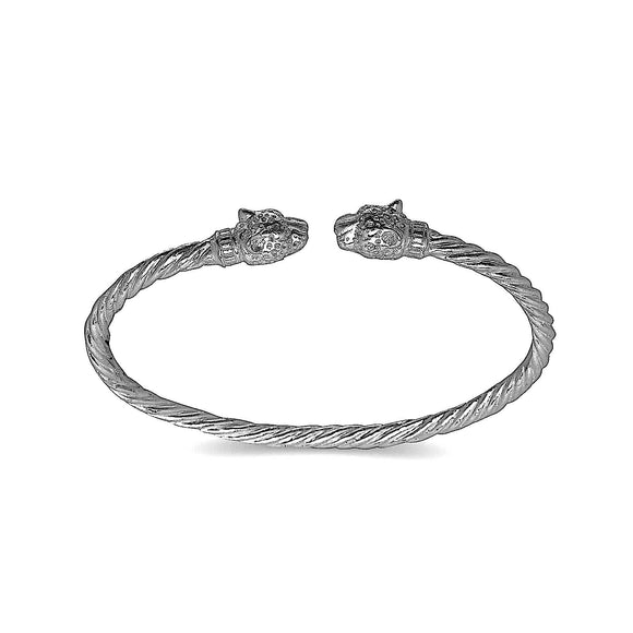 Jaguar head coiled rope West Indian bangle .925 Sterling silver MADE IN USA - Betterjewelry