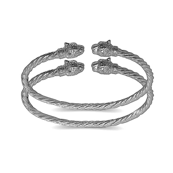 Jaguar head coiled rope West Indian bangle .925 Sterling silver MADE IN USA (pair) - Betterjewelry
