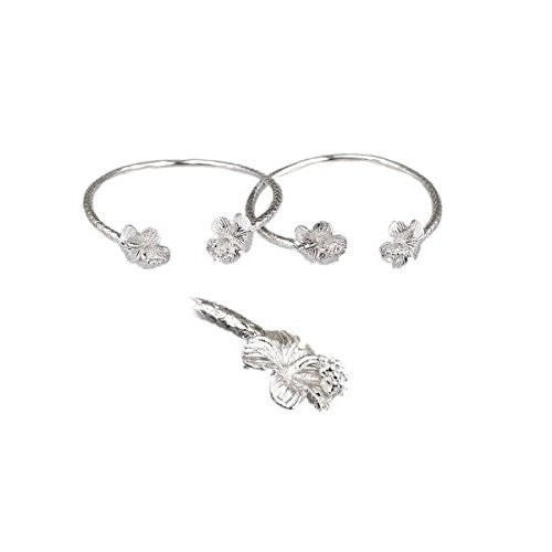 Flower .925 Sterling Silver West Indian Baby Bangles (Pair) (MADE IN USA) - Betterjewelry