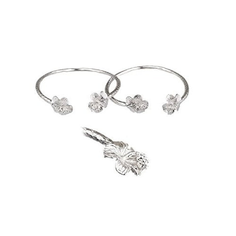 Flower .925 Sterling Silver West Indian Baby Bangles (Pair) (MADE IN USA)