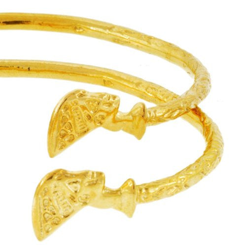 Queen Nefertiti Solid .925 Sterling Silver West-Indian Bangle Set Plated with 14K Gold