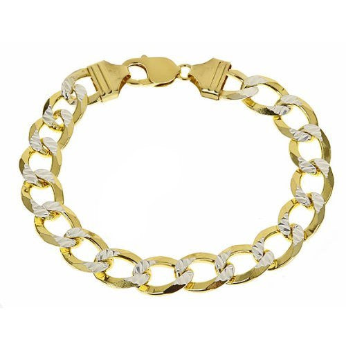 Men's Two-Toned Gold Plated on .925 SOLID Sterling Silver Cuban Link Bracelet - Multiple sizes - Betterjewelry