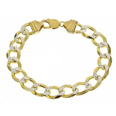Men's Two-Toned Gold Plated on .925 SOLID Sterling Silver Cuban Link Bracelet - Multiple sizes