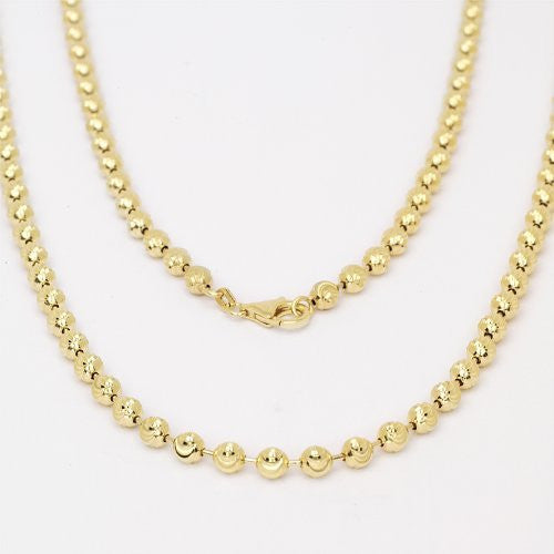 Men's Gold Plated .925 Sterling Silver Diamond Cut Cut Moon Ball Bead Chain - Betterjewelry