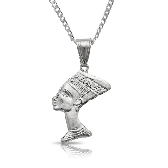 Queen Nefertiti Pendant w. Cuban chain .925 Sterling Silver - Betterjewelry