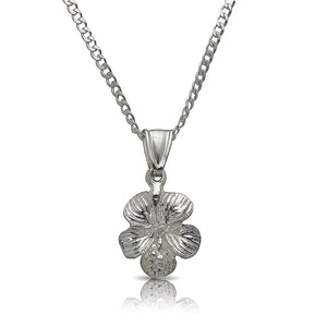 Hibiscus flower Pendant w. Cuban chain .925 Sterling Silver - Betterjewelry