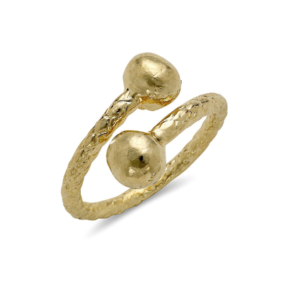 Classic Ball Ends 10K Yellow Gold West Indian Style Ring
