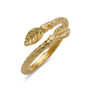 Leaf ends 10K Yellow Gold West Indian style ring - Betterjewelry