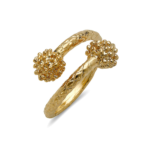 Disco ball ends 10K Yellow Gold ring West Indian ring