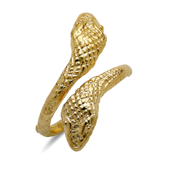 Cobra Ends 10K Yellow Gold Ring (MADE IN USA)