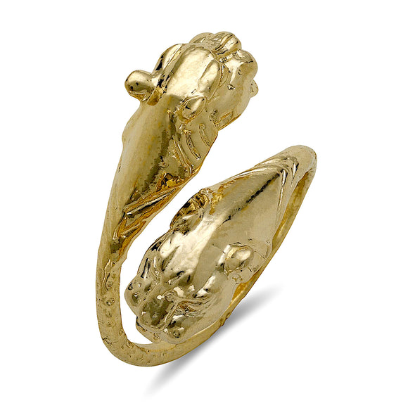 Panther ends 10K Yellow Gold West Indian ring - Betterjewelry