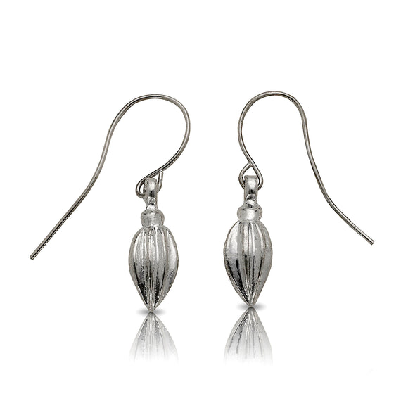 Cocoa pod earrings .925 Sterling Silver - Betterjewelry