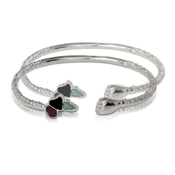 .925 Sterling Silver African power fist bangles (pair) - Betterjewelry