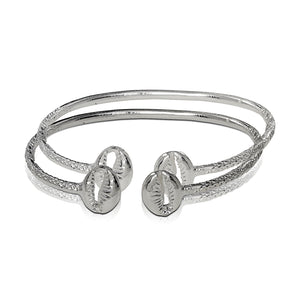 .925 Sterling Silver Cowrie Shell Thin bangles (pair) - Betterjewelry