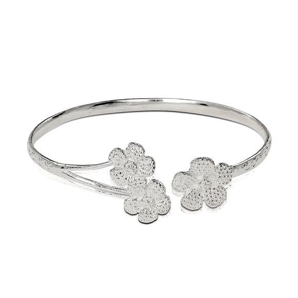 .925 Sterling Silver Flower Ends Flat West Indian Bangle - Betterjewelry